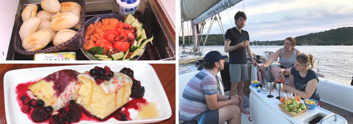 Serenity Explorers dovolená | Posadka lodě na palubě má svačinu z čerstvého ovoce a koktejl v Řecku. Recept na Norské speciality - losos v lodní kuchyni. Dort připravený na jachtě.