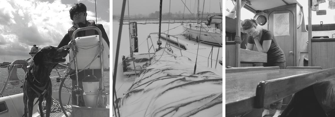 Serenity Explorers cestování a dovolená| Život na lodi & cesta k minimalismu - Pes na palubě lodě Midnight Blue a kapitán za kormidlem. Zasněžená loď v zamrzlém Baltském moři v přístavu v Kodaňi. Executive officer zapisuje do lodního deníku.
