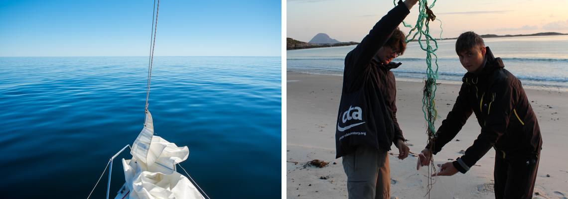 Eco cestování a životní styl | Serenity Explorers dovolená - Posadka lodě Midnight Blue na pláži v Norsku sbírá plast z moře.